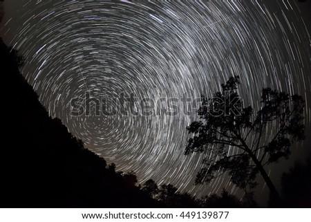 Starry Night over the lake Baikal, Republic of Buryatia, Russia. - stock photo