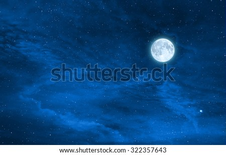 starry night sky design with the full moon , Elements of this image are furnished by nasa - stock photo