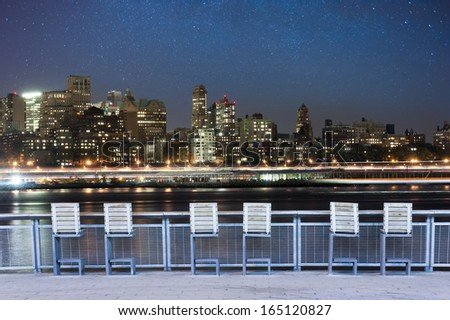 Starry Night view on Brooklyn from Manhattan, New York City - stock photo