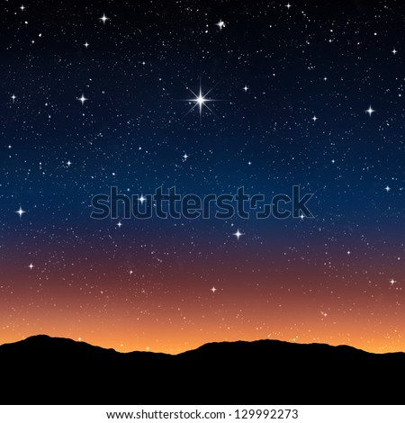 starry sky at night with bright wishing star - stock photo