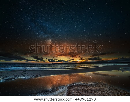 starry sky over Alghero at night, Sardinia - stock photo