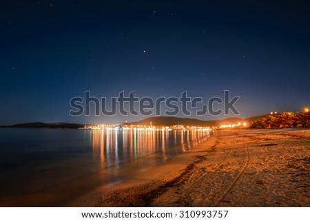 starry sky over Maria Pia beach, Sardinia - stock photo