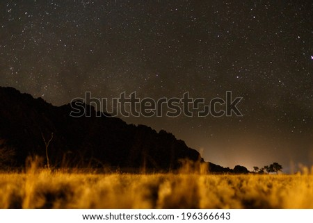 Starry Sky Over Namib Desert in Sossusvlei, Namibia, Africa - stock photo