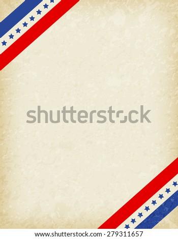 Stars and stripes corners on grunge background. USA patriotic frame design - stock photo