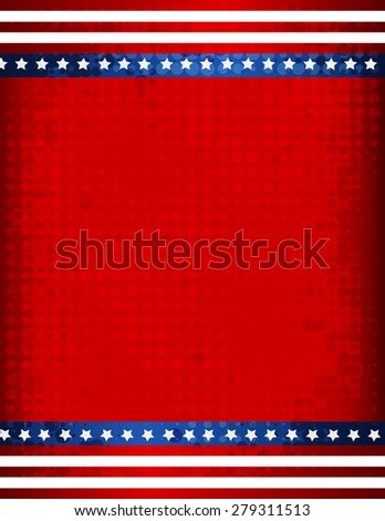 Stars and stripes grunge halftone USA 4th of july background / border - stock photo