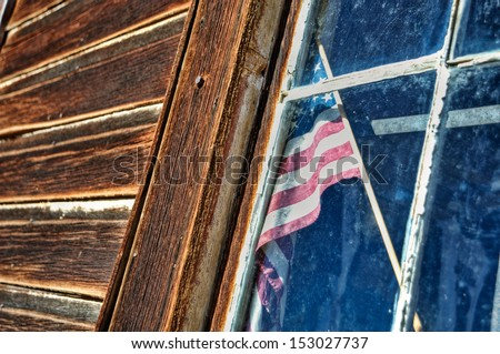 stars and stripes in the window 01 - stock photo