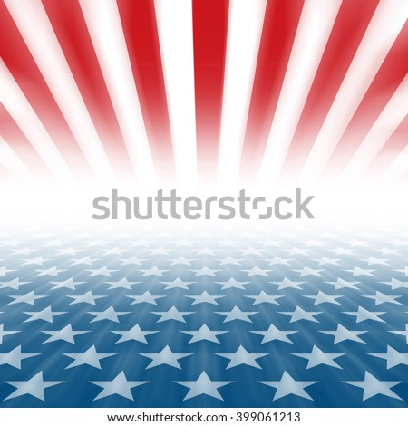 Stars and Stripes perspective background disappearing in a horizontal vanishing point - stock photo