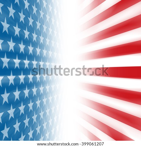 Stars and Stripes perspective background disappearing in a vertical vanishing point - stock photo