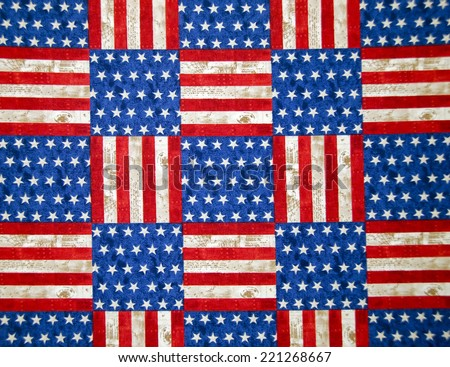 stars and stripes red and blue checkerboard pattern - stock photo