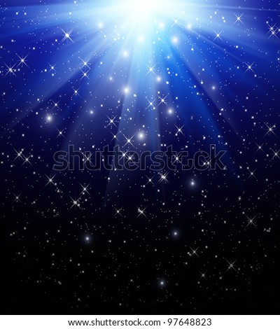 Stars are falling on the background of blue rays - stock photo