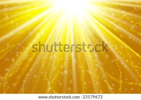 Stars descending on a path of golden light - stock photo