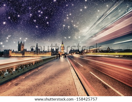 Stars in the Westminster night - London. - stock photo