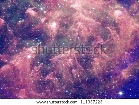 Stars of a planet and galaxy in a free space - stock photo