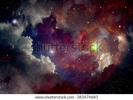 "Stars of a planet and galaxy in a free space ""Elements of this image furnished by NASA"" - stock photo"