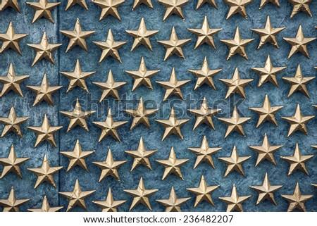Stars on the Freedom Wall in Washington DC. - stock photo