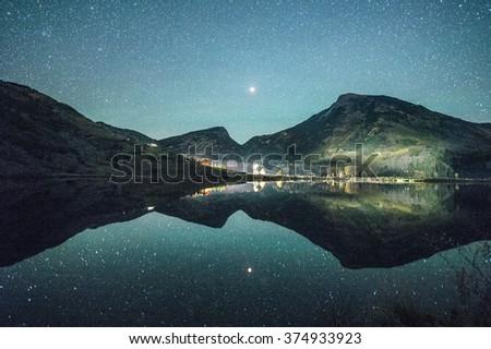 stars reflection - stock photo