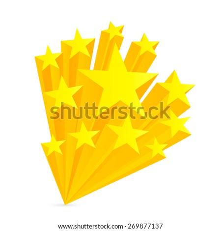 Stars. Yellow stars isolated on white background. Raster copy. - stock photo