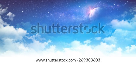 Starscape. High resolution cloudy sky background. Star field and planet in deep space. - stock photo
