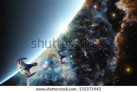 Starships in Deep Space - stock photo