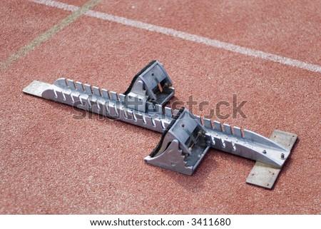 start-block for running and taking hurdles - stock photo