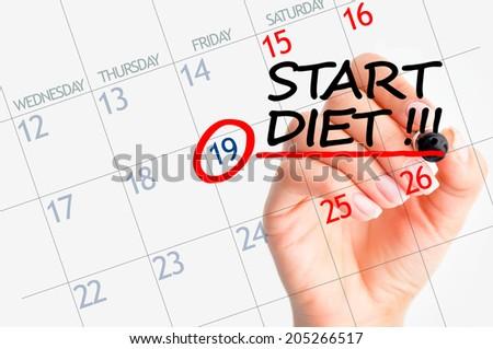 Start diet date marked on calendar - stock photo