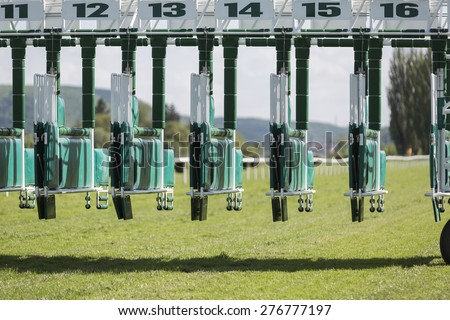 Start gates for horse races. Front view. - stock photo