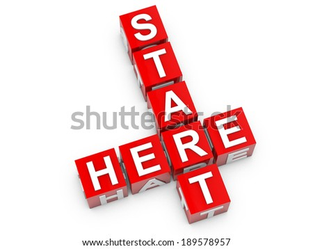 Start here red cubes over white background - stock photo