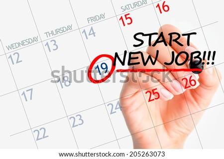 Start new job date in calendar - stock photo