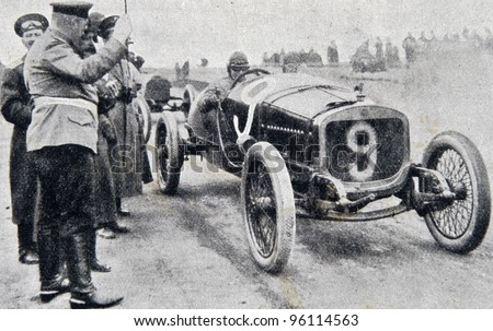 "Start of road racing.  Illustration from ""Niva"" magazine, publishing house A.F. Marx, St. Petersburg, Russia, 1913 - stock photo"