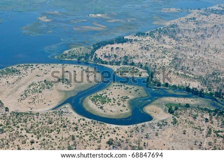 Start of the Savuti Channel, Linyanti, Botswana - stock photo