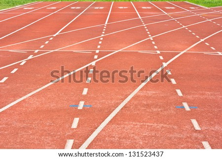 start running track rubber standard red color - stock photo