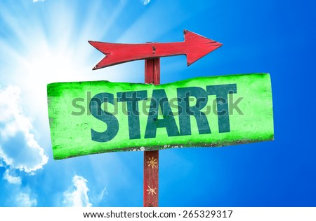Start sign with sky background - stock photo