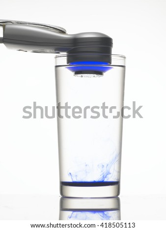 Start testing the vibration in water.  - stock photo
