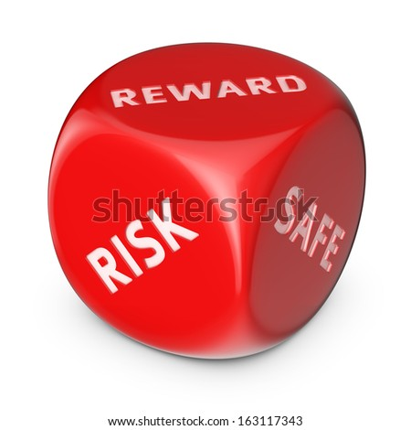 Start-up concept. Big red dice with options. - stock photo