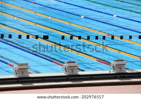 Starting blocks in a olympic swimming pool - stock photo