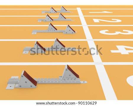 Starting blocks in track and field. 3D model - stock photo