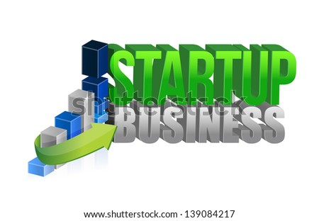 startup business graph sign illustration design over white - stock photo