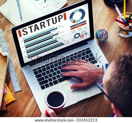 Startup New Business Growth Success Development Concept - stock photo