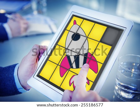 Startup Technology Growth Success Game Puzzle Concept - stock photo