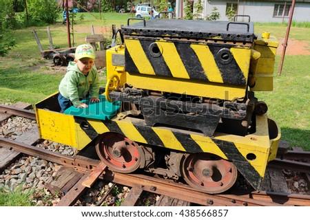 STARY PLZENEC, CZECH REPUBLIC - MAY 14, 2016: Mining electric locomotive ALD 2 on narrow-gauge railway. Outdoor museum in Stary Plzenec, Czech republic, Europe. - stock photo