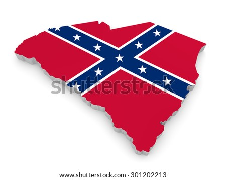 State border map of South Carolina with the rebel Confederate Flag - stock photo