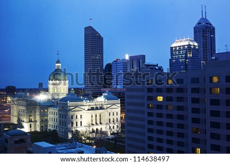 State Capitiol Building in downtown Indianapolis, Indiana. - stock photo