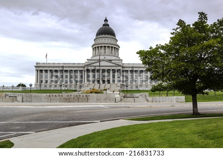 State Capitol Building in Salt Lake City Utah on a stormy day. - stock photo