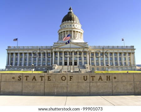 State Capitol Building in Salt Lake City, Utah. The building houses the chambers of the Utah State Legislature, the offices of the Governor and Lieutenant Governor of Utah. - stock photo