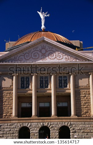 State Capitol building of Arizona with a copper dome in Phoenix, Arizona - stock photo