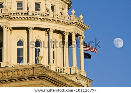 State Capitol of Michigan in Lansing. - stock photo
