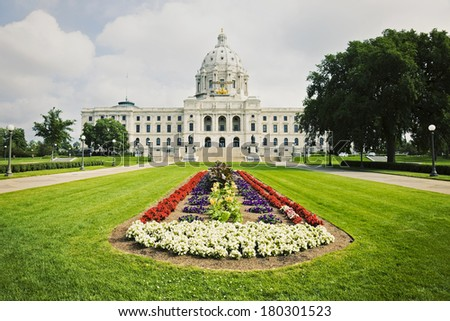 State Capitol of Minnesota in St. Paul. Summer time.  - stock photo