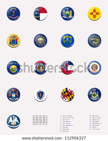 State flag ball/stamp of UNITED STATES 3/3 - stock photo