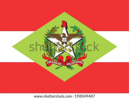 State flag of Santa Catarina in Brazil - stock photo