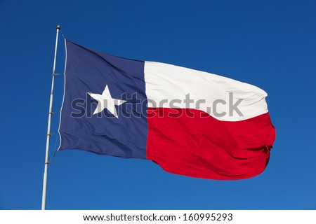 State Flag of Texas on a Windy Day - stock photo